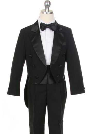 Ranier Boy Tuxedo w/ coat tail - BLACK