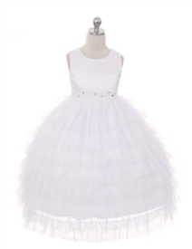 Brooke Tiered Mesh Dress - WHITE