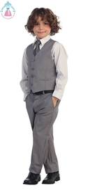 Michael Boys 4pc Vest Suit - Dove Grey / WHITE
