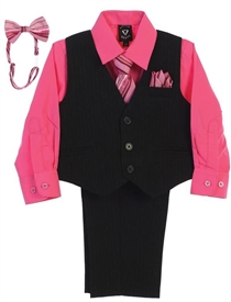 Lucas Boys 4pc Pin-Striped Vest Set- FUCHSIA