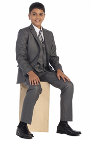 James  Boys 5pc Slim Suit: GRAY