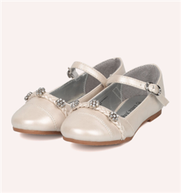 Britt Girls Dress Shoes - IVORY