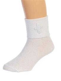 Boys White Baptism Socks with Cross