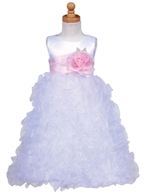 Amy White Ruffled Flower Girl Dress