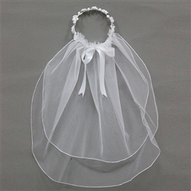 -White Long Veil with Flower Crown *