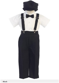 Jacob 5pc Boys Suspender Set - BLACK