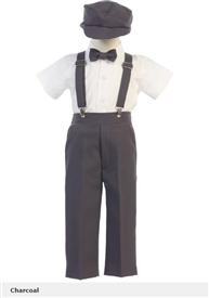 Jacob 5pc Boys Suspender Set - CHARCOAL