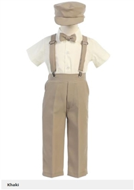 Jacob 5pc Boys Suspender Set - Khaki