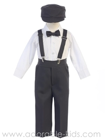 Boys Suspender Suit Set - CHARCOAL