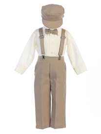 Bernard 5pc Boys Suspender Set - KHAKI