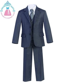 Harry  Boys 5pc Slim Suit: Blue Gray