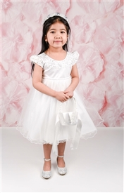 Quinn Satin & Tulle Baby Dress: WHITE or Off/White