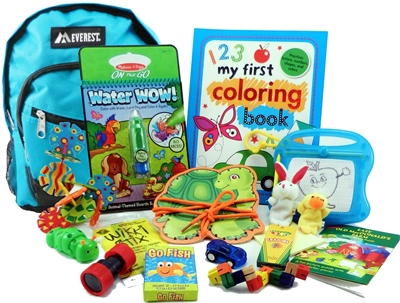 The Pack - Travel Toys, Puzzles and Games for 3 to 5 year olds is a fully stocked backpack great for any vacation, travel or family adventure.  Each Pack comes with a backpack, puzzles, toys, games and a 'Top Secret' save for later surprise