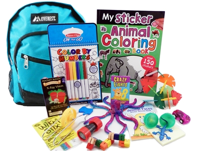 The Pack - Travel Toys, Puzzles and Games for 6 to 9 year olds is a fully stocked backpack great for any vacation, travel or family adventure.  Each Pack comes with a backpack, puzzles, toys, games and a 'Top Secret' save for later surprise