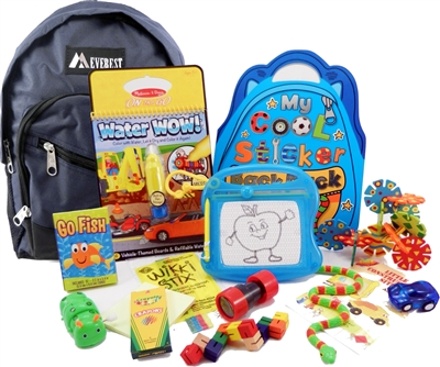 The Pack - Travel Toys, Puzzles and Games for 3 to 5 year old boys is a fully stocked backpack great for any vacation, travel or family adventure.  Each Pack comes with a backpack, puzzles, toys, games and a 'Top Secret' save for later surprise