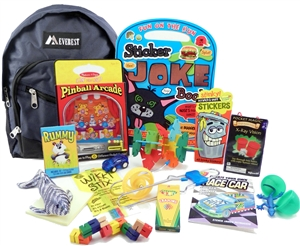 The Pack - Travel Toys, Puzzles and Games for 6 to 9 year old boys is a fully stocked backpack great for any vacation, travel or family adventure.  Each Pack comes with a backpack, puzzles, toys, games and a 'Top Secret' save for later surprise