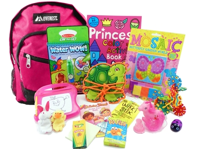The Pack - Travel Toys, Puzzles and Games for 3 to 5 year old girls is a fully stocked backpack great for any vacation, travel or family adventure.  Each Pack comes with a backpack, puzzles, toys, games and a 'Top Secret' save for later surprise