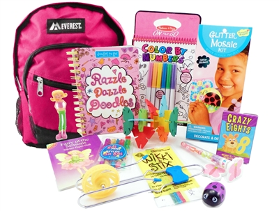 The Pack - Travel Toys, Puzzles and Games for 6 to 9 year old girls is a fully stocked backpack great for any vacation, travel or family adventure.  Each Pack comes with a backpack, puzzles, toys, games and a 'Top Secret' save for later surprise