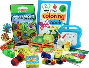 The Bag - Travel Toys, Puzzles and Games for 3 to 5 year olds is filled with an exciting variety of activities, puzzles, crafts and toys sure to surprise your child and keep them entertained for hours. Great for any vacation, travel or adventure.