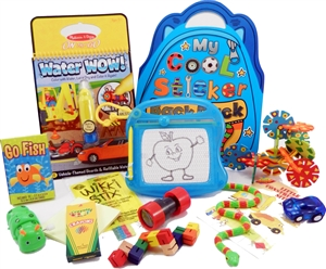 The Bag - Travel Toys, Puzzles and Games for 3 to 5 year old boys is filled with an exciting variety of activities, puzzles, crafts and toys sure to surprise your child and keep them entertained for hours. Great for any vacation, travel or adventure.