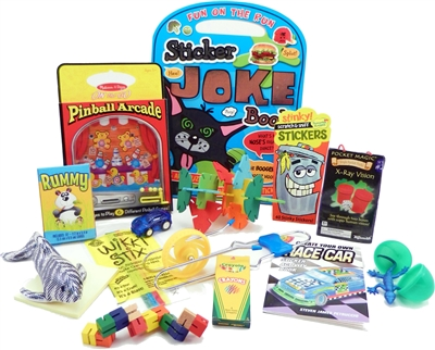 The Bag - Travel Toys, Puzzles and Games for 6 to 9 year Old boys is filled with an exciting variety of activities, puzzles, crafts and toys sure to surprise your child and keep them entertained for hours. Great for any vacation, travel or adventure.
