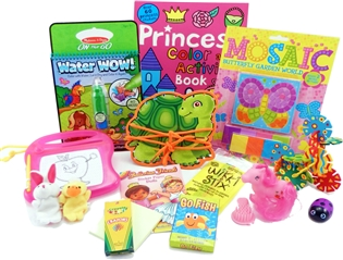 The Bag - Travel Toys, Puzzles and Games for 3 to 5 year old girls is filled with an exciting variety of activities, puzzles, crafts and toys sure to surprise your child and keep them entertained for hours. Great for any vacation, travel or adventure.