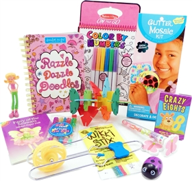 The Bag - Travel Toys, Puzzles and Games for 6 to 9 year old girls is filled with an exciting variety of activities, puzzles, crafts and toys sure to surprise your child and keep them entertained for hours. Great for any vacation, travel or adventure.