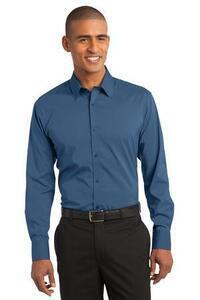Port Authority ; Woven Shirts Cotton/Poly Blend DISCONTINUED  Stretch Poplin Shirt