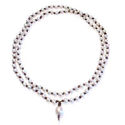 Fine Pearls and Leather Jewelry by Designer Wendy Mignot Japa Mini Mala Freshwater Necklace White
