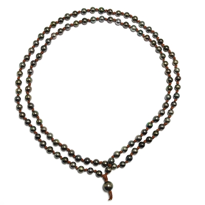 Fine Pearls and Leather Jewelry by Designer Wendy Mignot Japa Mala Tahitian Necklace