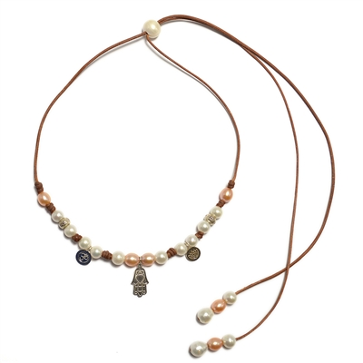 Fine Pearls and Leather Jewelry by Designer Wendy Mignot Yoga Slider Freshwater Necklace