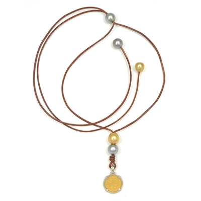 Fine Pearls and Leather Jewelry by Designer Wendy Mignot Portuguese 1000 Reis Ancient Gold Coin, Tahitian and South Sea Pearl Necklace