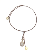 Fine Pearls and Leather Jewelry by Designer Wendy Mignot Gorgon Ancient Silver Coin, South Sea Necklace