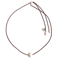 Fine Pearls and Leather Jewelry by Designer Wendy Mignot Lady Jane Single Freshwater Slider Necklace White