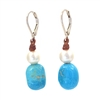 Fine Pearls and Leather Jewelry by Designer Wendy Mignot Azur Turquoise and Freshwater Pearl Earrings