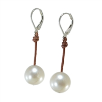 Fine Pearls and Leather Jewelry by Designer Wendy Mignot Coastal Single Freshwater Earrings White Demi