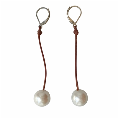 Fine Pearls and Leather Jewelry by Designer Wendy Mignot Coastal Single Freshwater Earrings White II