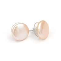 Fine Pearls and Leather Jewelry by Designer Wendy Mignot Flat Coin Freshwater Pearl Stud Earrings Blush