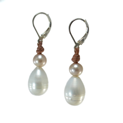 Fine Pearls and Leather Jewelry by Designer Wendy Mignot Drop Freshwater Earrings White, Champagne Accent