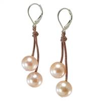 Fine Pearls and Leather Jewelry by Designer Wendy Mignot Cherries Freshwater Earrings Blush