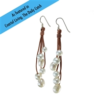Fine Pearls and Leather Jewelry by Designer Wendy Mignot Six Drop Freshwater Earrings White