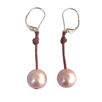 Fine Pearls and Leather Jewelry by Designer Wendy Mignot Coastal Single Freshwater Earrings Blush I