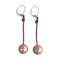 Fine Pearls and Leather Jewelry by Designer Wendy Mignot Coastal Single Freshwater Earrings Blush II