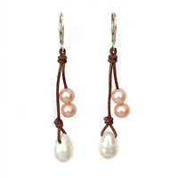 Fine Pearls and Leather Jewelry by Designer Wendy Mignot Kendall Freshwater Earrings