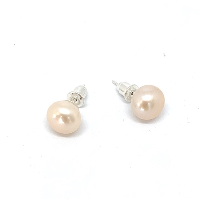 Fine Pearls and Leather Jewelry by Designer Wendy Mignot Chloe Freshwater Pearl Stud Earrings, Blush