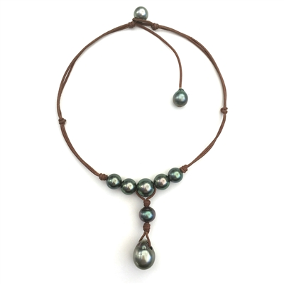 Fine Pearls and Leather Jewelry by Designer Wendy Mignot Watercolor Tahitian Necklace