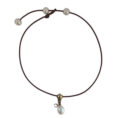 Crystal Lotus Freshwater Pearl Adjustable Necklace by Wendy Mignot