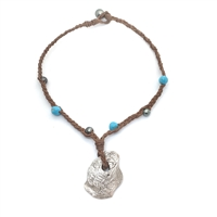 Fine Pearls and Leather Jewelry by Designer Wendy Mignot Concepcion Silver Shipwreck Coin, Tahitian and Turquoise Necklace 18""