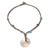 Fine Pearls and Leather Jewelry by Designer Wendy Mignot Concepcion Silver Shipwreck Coin, Tahitian and Turquoise Necklace 20""