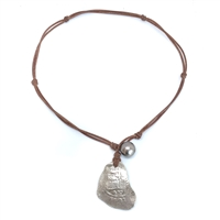 Fine Pearls and Leather Jewelry by Designer Wendy Mignot Consolacion Silver Shipwreck Coin, Pearl Necklace